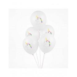 5 ballons imprimés Licornes