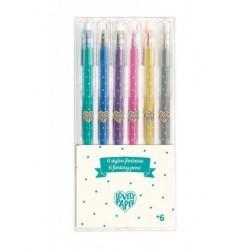 6 stylos gel pailletés -...